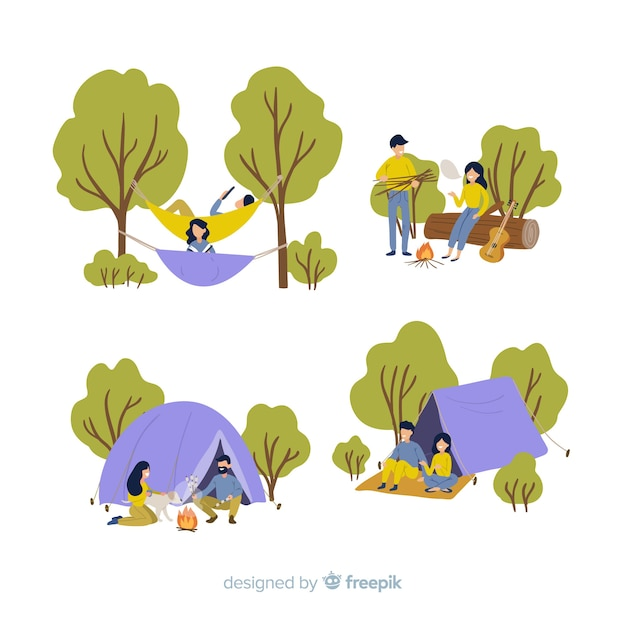 Set of people going camping Free Vector