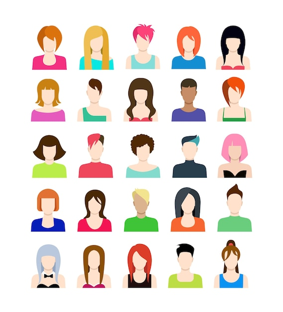 Set of people icons in flat style with faces Free Vector