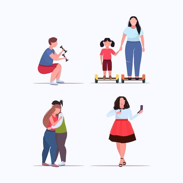さまざまなポーズの太りすぎの男性女性の減量肥満の概念のコレクションフラットフラット全長の人々を設定します。 Premiumベクター