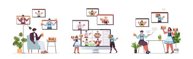 Люди в медицинских масках пьют пиво и обсуждают с друзьями в окнах веб-браузера во время видеозвонка Premium векторы