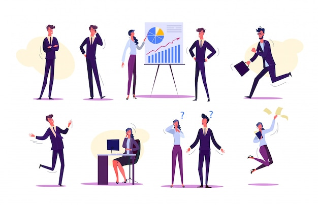 Set of people interacting at work Free Vector