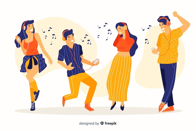 Set of people listening music and dancing illustrated Free Vector