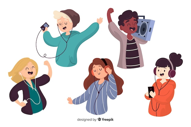 Set of people listening music illustrated Free Vector