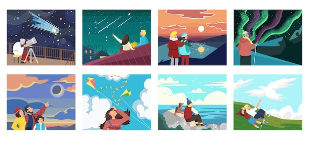 Set of people looking at sky illustration Premium Vector