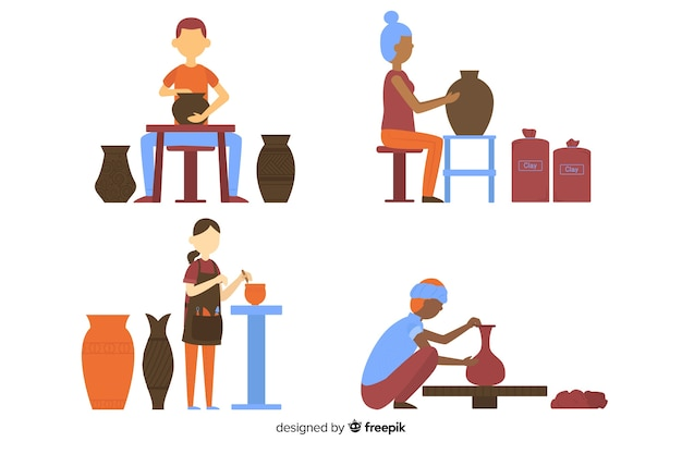 Set of people making pottery flat design Free Vector