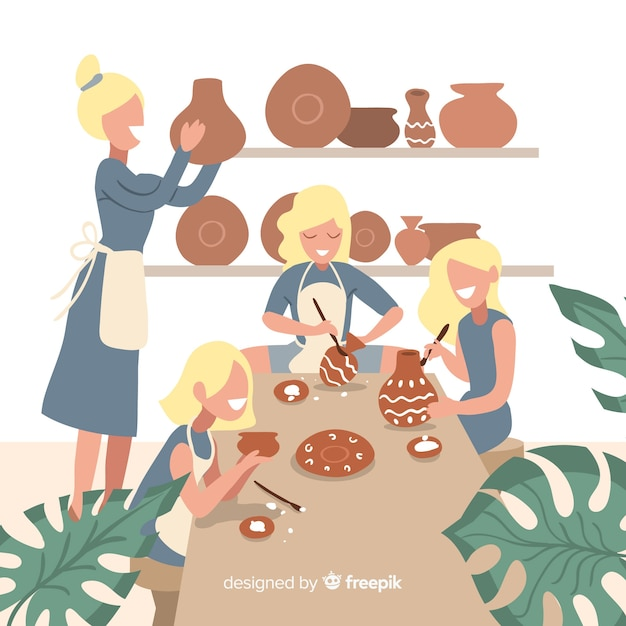 Set of people making pottery Free Vector
