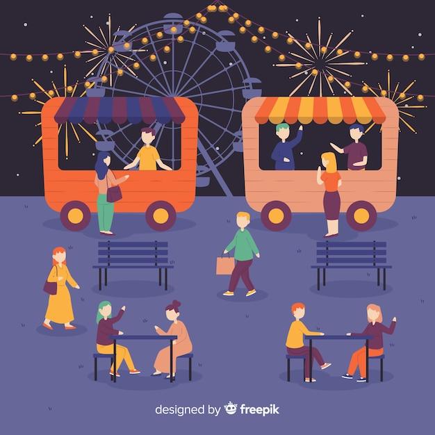 Set of people at night fair Free Vector