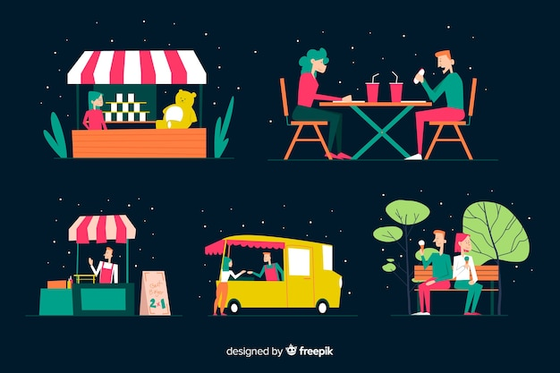 Set of people at night fair Free Vector