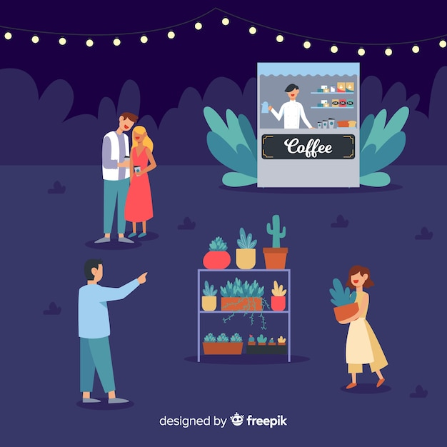 Set of people at a night fair Free Vector