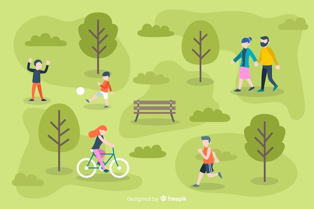 Set of people in the park Free Vector
