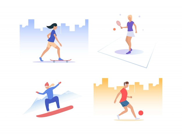 Set of people playing active sports Free Vector