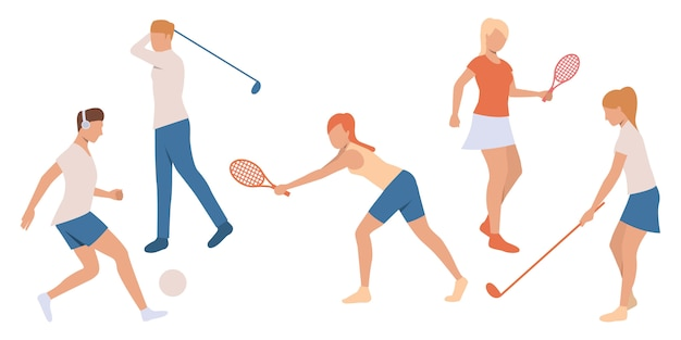 Set of people playing tennis and golf Free Vector