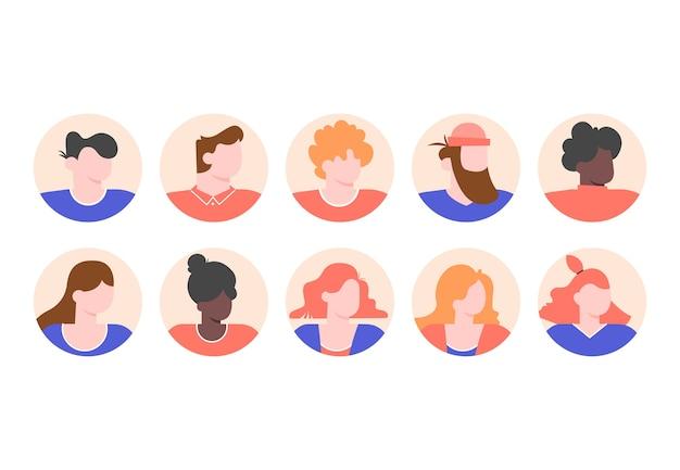 男性と女性の顔を持つ人々のプロフィールのアバターを設定します。 Premiumベクター