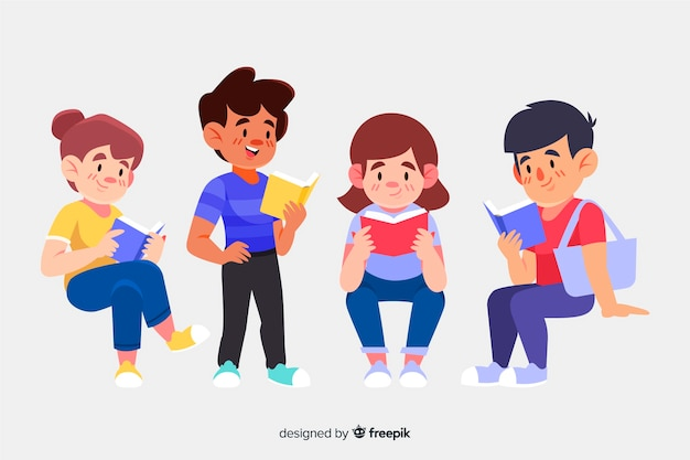Set of people reading a book Free Vector