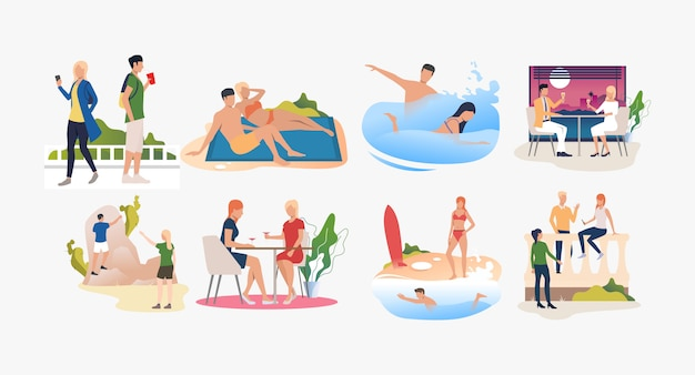 Set of people resting at resorts and enjoying summertime Free Vector