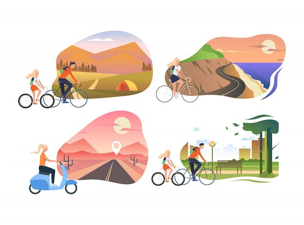 Set of people riding bicycles Free Vector