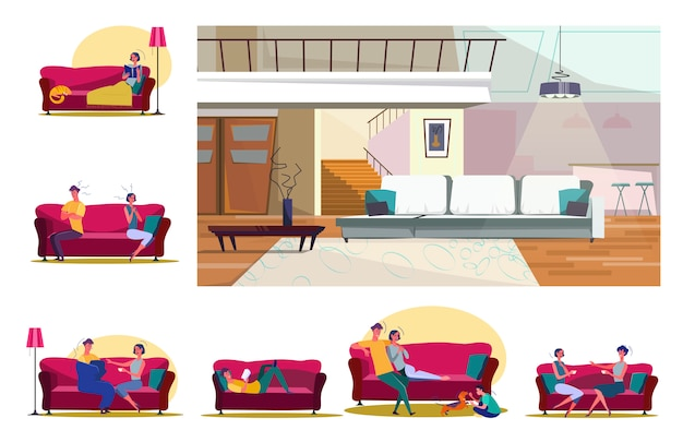 Set of people sitting on sofas in various positions Free Vector