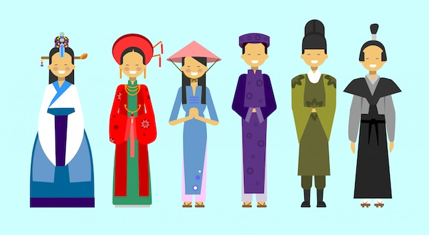 Set of people in traditional asian clothing, national costumes concept Premium Vector