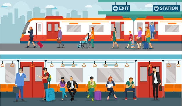 Set of people in train station. train station situation in the morning Premium Vector