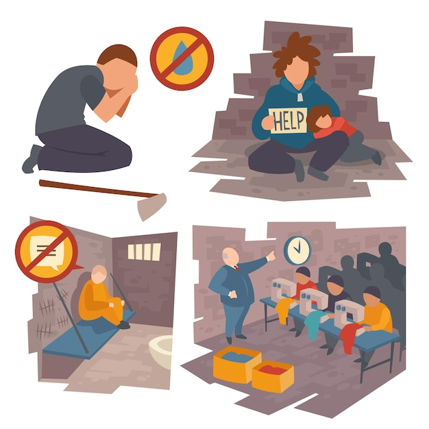 Set of people in trouble, kneel man crying of water lack, prisoner sitting on bed in jail communication ban Free Vector