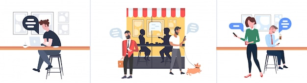 Set people using mobile app chat bubble social media communication concept men women walking outdoor sitting at counter desk speech conversation modern street cafe full length horizontal Premium Vector