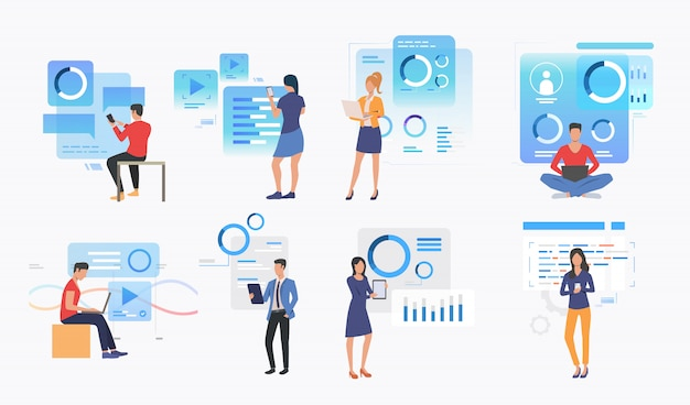 Set of people using modern technologies Free Vector