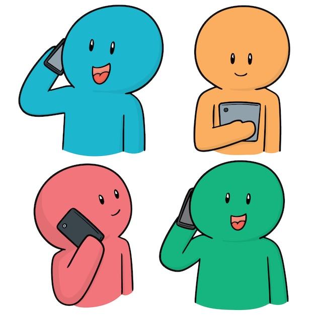 Set of people using smartphone Premium Vector
