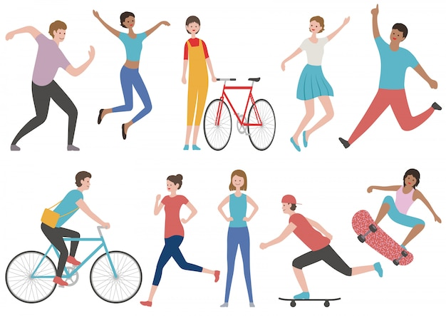 Set of people in various lifestyle isolated. vector flat illustration. Premium Vector