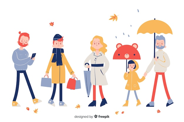 Set of people walking in autumn Free Vector