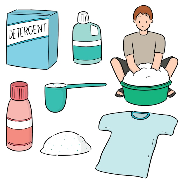 Set of people washing clothes Premium Vector