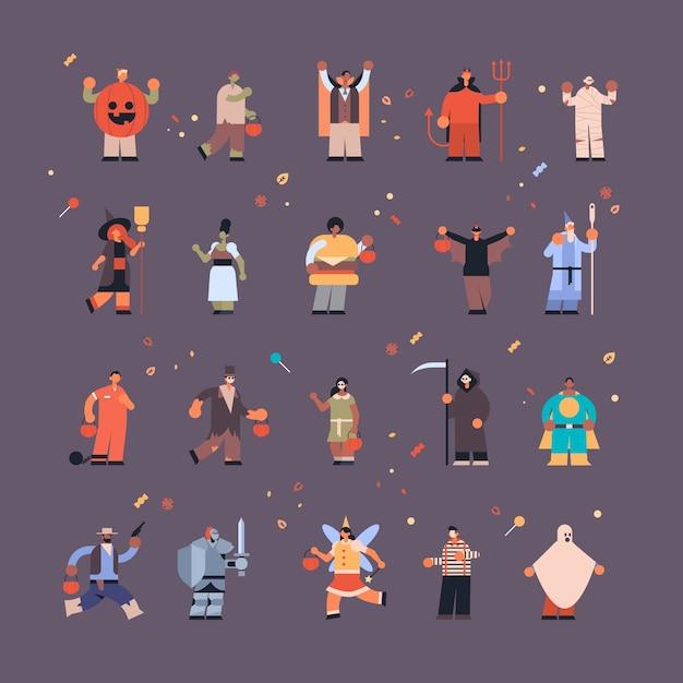 Набор людей, одетых в разные костюмы монстров, трюки и угощение счастливым празднованием хэллоуина, набор персонажей в полный рост Premium векторы