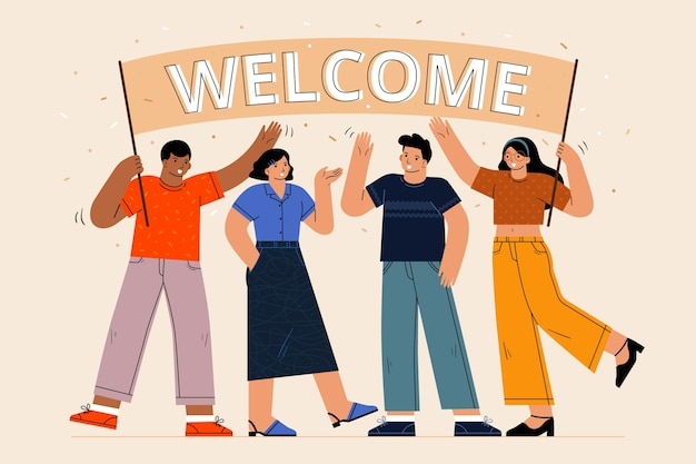 Set of people welcoming illustrated Free Vector