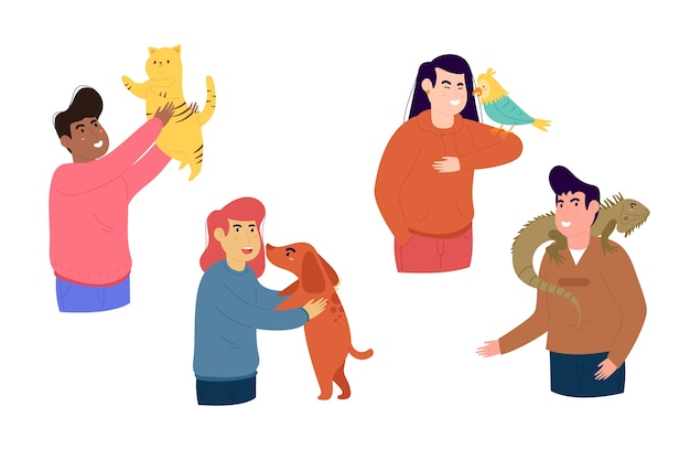 Set of people with different pets Free Vector