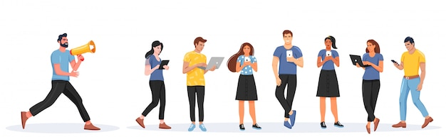 Set of people with gadgets. Premium Vector