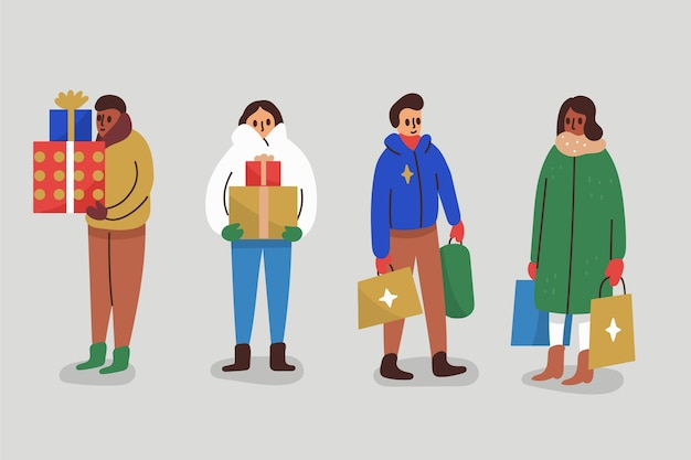 Set of people with gifts Free Vector