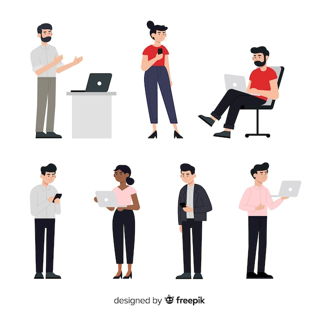 Set of people with laptops Free Vector