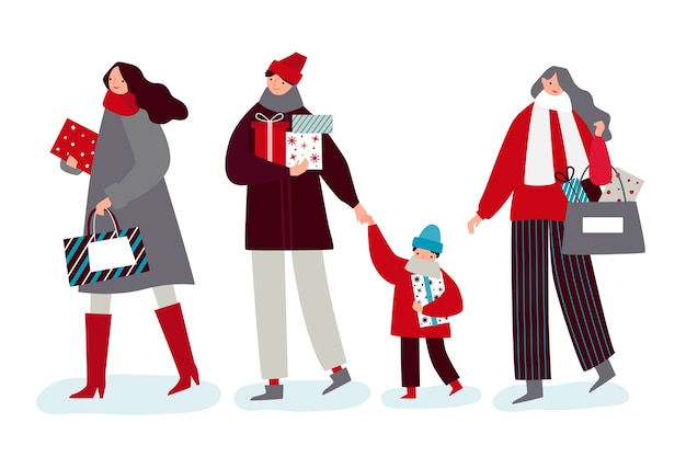 Set of people with presents Free Vector