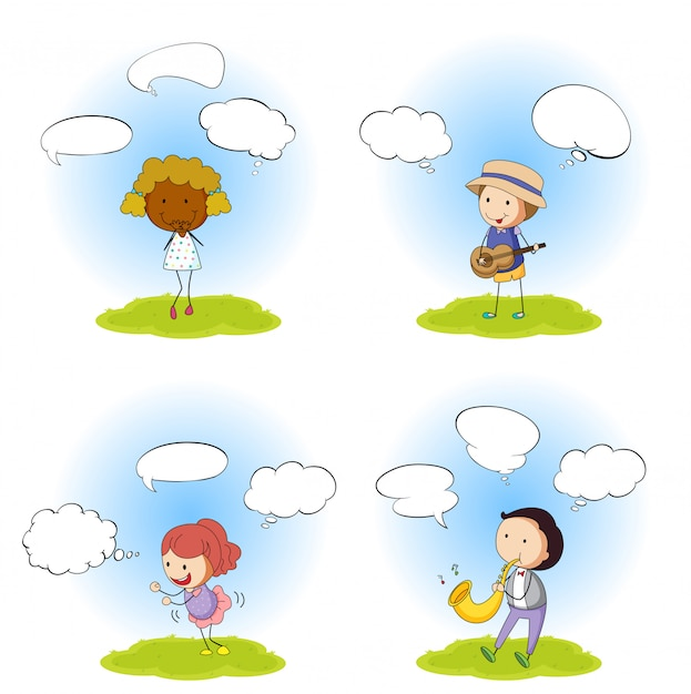 Set of people with speech balloon Free Vector