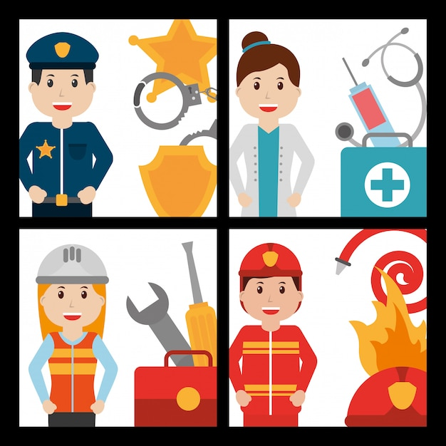 Set of people worker profession card Premium Vector