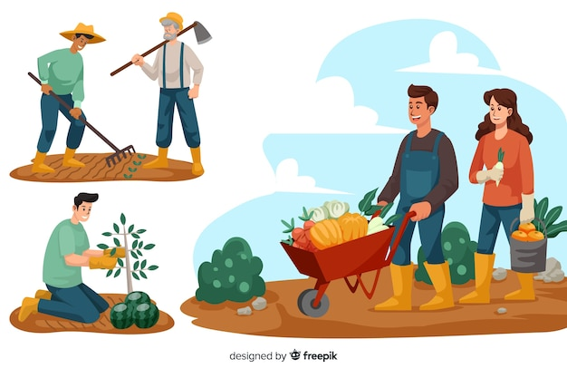 Set of people working at the farm Free Vector