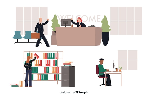 Set of people working at the office Free Vector