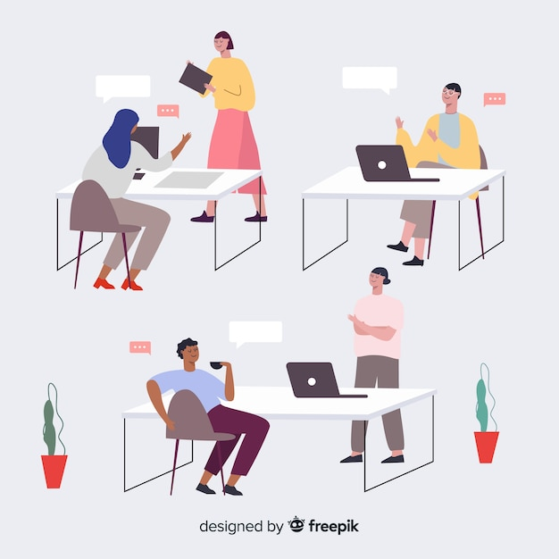 Set of people working at their desks Free Vector