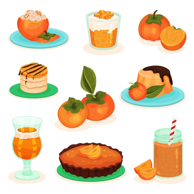 Set of persimmon drinks and food. tasty fruit desserts. cheesecake, cake, pudding and smoothie Premium Vector