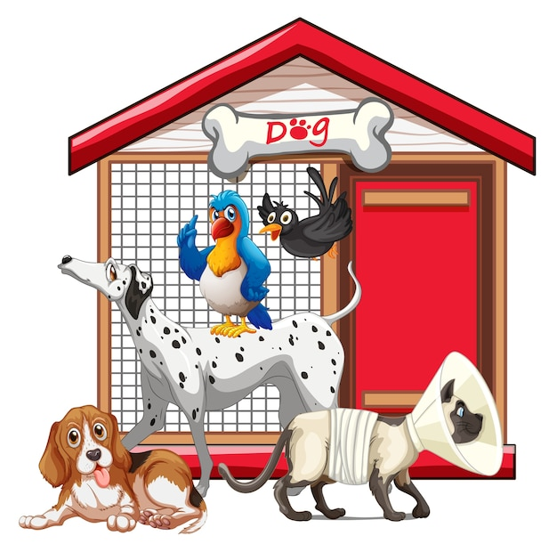 Set of pet with its house Premium Vector