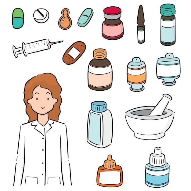 Set of pharmacist and medicine Premium Vector