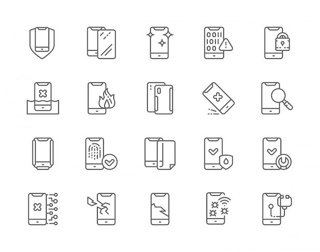 Set of phone repair line icons. Premium Vector