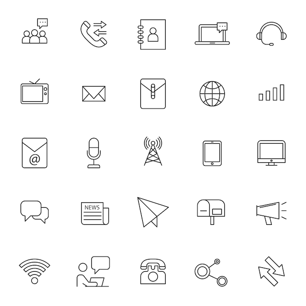 Set of phone telecommunication icons with simple outline Premium Vector