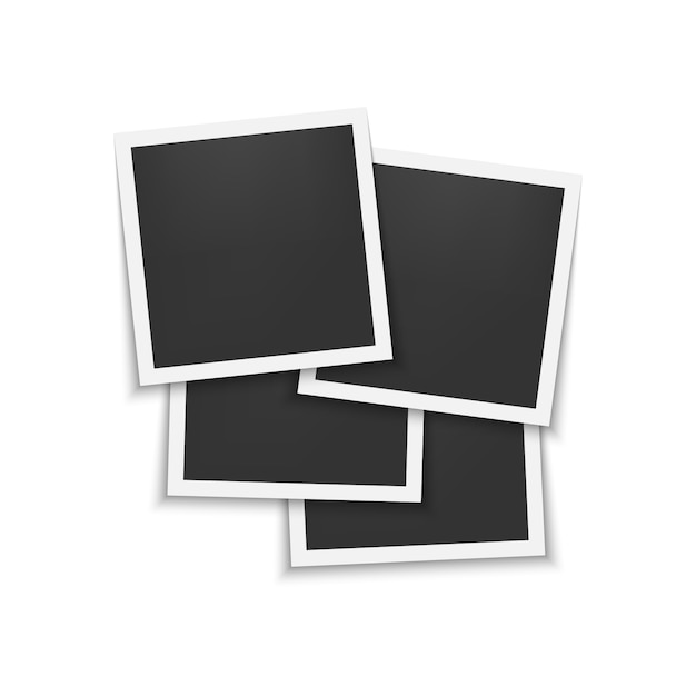 Set of photo frames with shadow Premium Vector