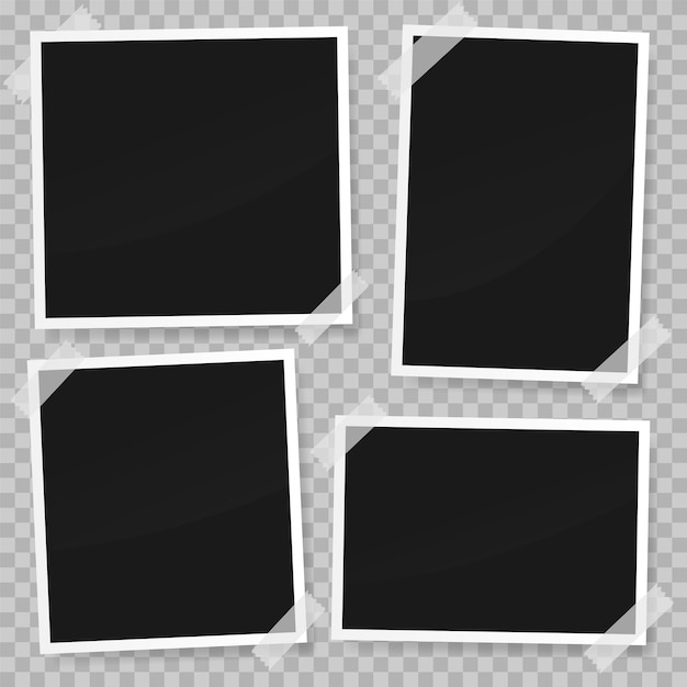 Set of photo paper template with white tape Premium Vector