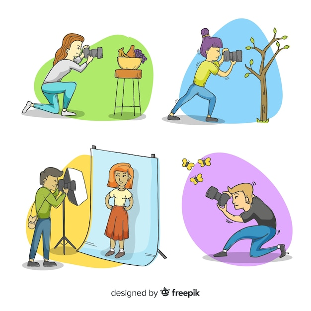 Set of photographers taking different shots Free Vector